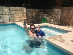 Gil (PTA) and patient during Aquatic Therapy